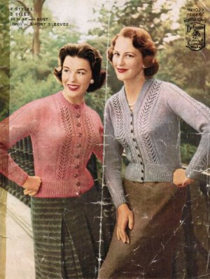 2 lacy cardigans from the 50s in 4 ply