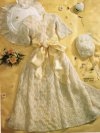 Very fine christening dress & hat with crochet edging