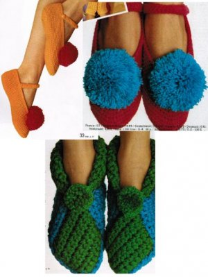 2 pairs fun crochet slippers - perfect presents