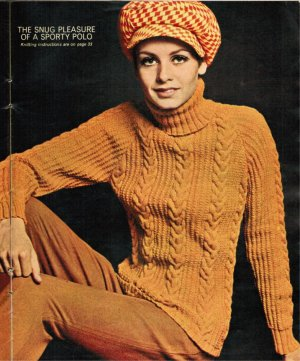 Twiggy skinny rib polo neck cabled jumper