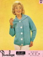 Chunky 60's cardigan with wide button band & collar