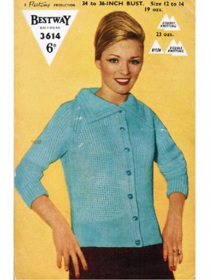 "Early 60's ""mod"" style cardigan with bracelet length sleeves"