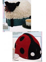 2 easy fun tea cosies - ladybird and lamb