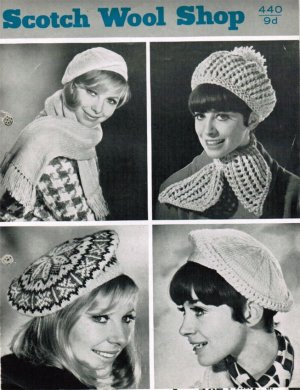 4 beret style hats 1 fair isle, & matching scarves