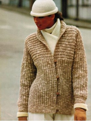 Ribbed chunky style jacket with neat shawl collar