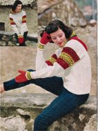 "1957 ""Riviera style"" hooded fair isle ski jacket & mittens"