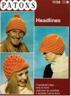 2 peaked hats knit or crochet from the 1970's