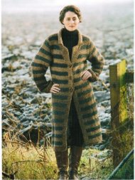 Relaxed stripey long chunky coat