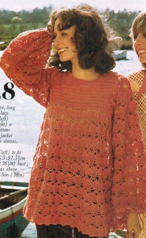 Lacy smock style tunic top with full sleeves