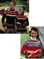 2 traditional Norwegian patterned family jumpers