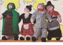 Set of national costume dolls, Welsh, Irish, Scottish & English