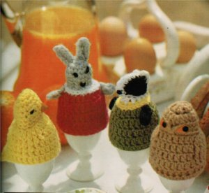 Easter chick, bunny egg cosies to crochet