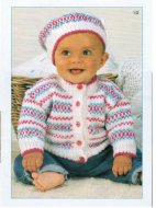 Baby boy or girl fair isle cardigan & beret