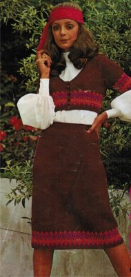 1970 folk fair isle skirt & bolero set - groovy!