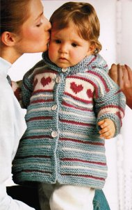 Chunky heart motif toddler coat