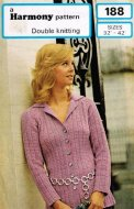 Fab 1960's fancy rib cardigan with collar in DK