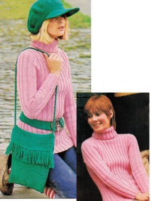 Crochet baker boy cap, bag, belt & ribbed jumper