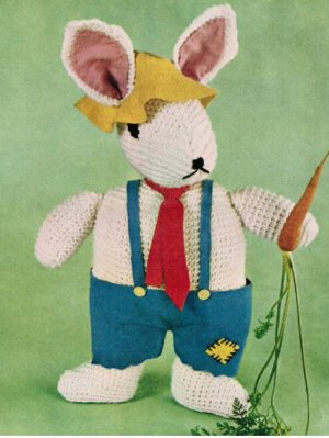 Vintage Easter bunny toy, knitted with sewn felt clothes