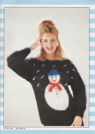 Christmas snowman picture jumper in mohair for ladies /teens