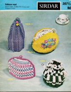 4 knitted tea cosies, coffee pot cosy and teapot nest