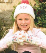 Girl's fair isle hat & fingerless glove set
