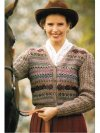 Fair isle patterned cardi with lace cable sleeves