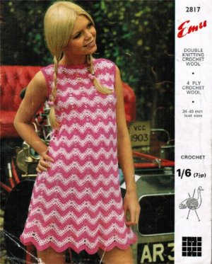 Fabulous zig zag crochet summer dress from the early 70s