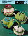 4 knitted traditional tea cosies in different sizes