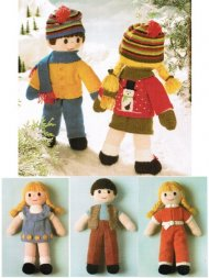 Twin ragdoll style toys with extensive wardrobes.