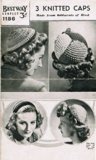 3 beret style hats from the 1940's