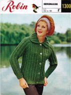 Cosy twist stitch raglan cardigan with collar from the 60's
