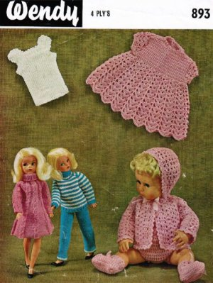 Crochet baby doll layette and groovy gear for Sindy to knit