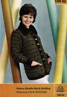 Mod patterned cardigan jacket with chunky collar