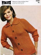 Chunky 60's ribbed raglan cardigan with collar
