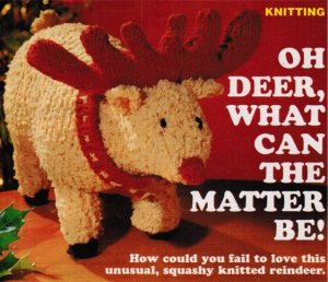 Soft cuddly reindeer toy knitting pattern