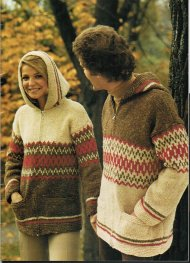 Chunky fair isle hooded zipped jacket up to 50""