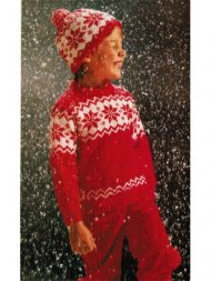 Snowflake patterned ski hat and jumper