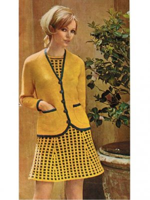 Stylish 60's fitted dress & blazer suit
