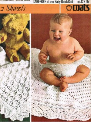2 baby christening shawls square or circular