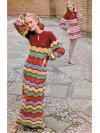Zig- zag maxi or short 70's crochet dress