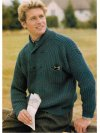 Fancy rib men's jumper with ccrossover neck