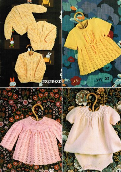 4 baby knitting patterns, dresses, angel top, cardigans - Click Image to Close