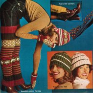 70's patterned legwarmers, earflap hat, mittens & ankle warmers