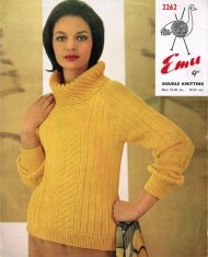 Unusual textured polo neck rib jumper