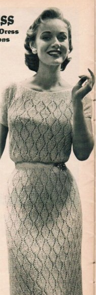 Flattering knitted lace dress from the 1950's