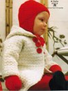 Coat hat & gloves set, knit OR crochet
