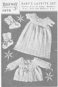 Very old & sweet baby layette, dress matinee coat, bootees