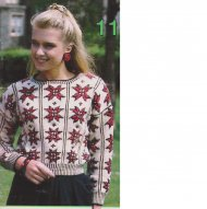 Folk style pretty snowflake motif cropped jumper
