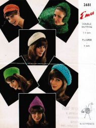 6 crochet berets & hats from the 1970's