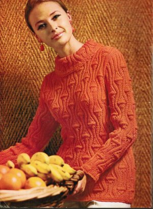 "Gorgeous ""pineapple"" cable pattern jumper"